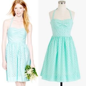 J Crew Sweetheart Eyelet Halter Dress Aqua Blue 12